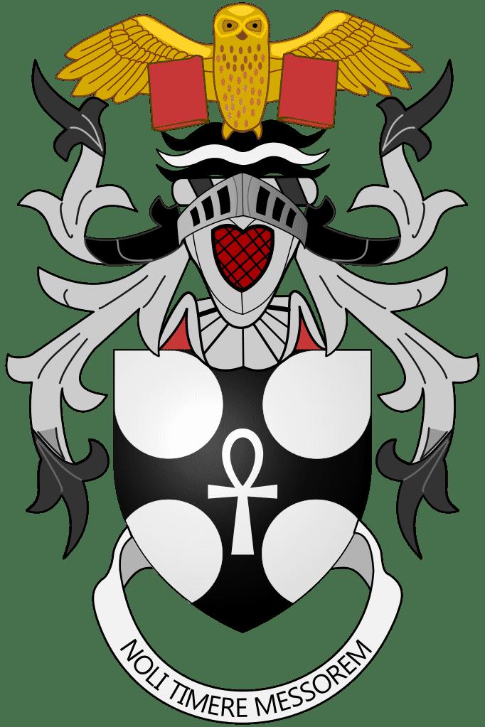 """Das Motto im Wappen von Terry Pratchett lautet übersetzt """"fürchte den Sensenmann nicht""""."""