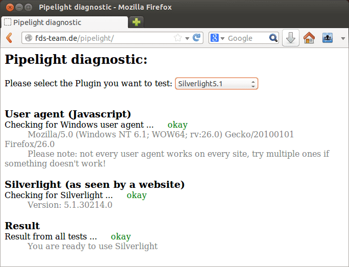 Pipelight-Diagnose