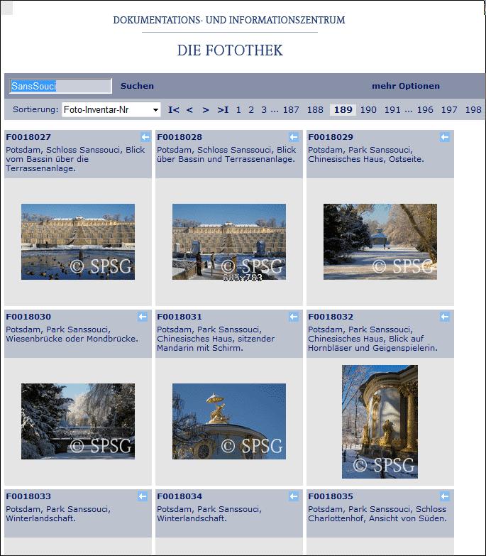 Die Stiftung Preußischer Schlösser und Gärten hat eine eigene Fotothek im Internet