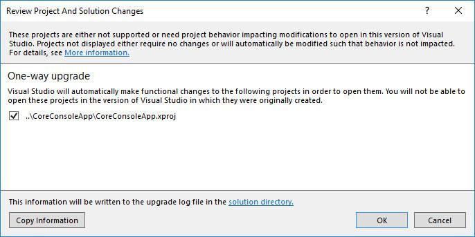 Die Konvertierung von .xproj/project.json nach .csproj ist eine Einbahnstraße.