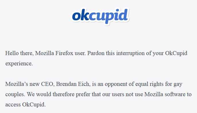 Der Anfang des Texts auf OKCupid