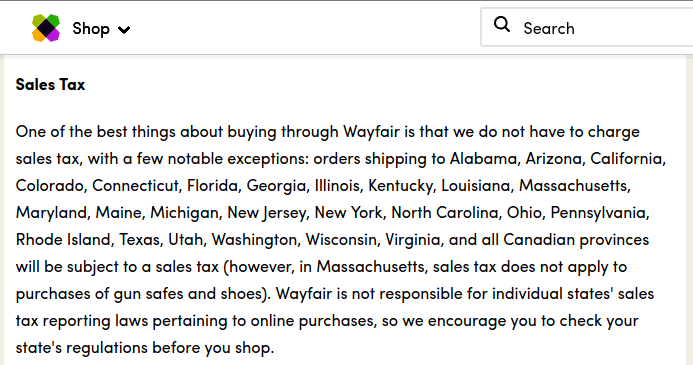 """One of the best things about buying through Wayfaire is that we do not have to charge sales tax, with a few notable exceptions:..."""
