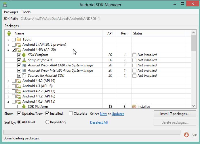 Installation des Android SDK für API-Level 20 (Abb. 6)
