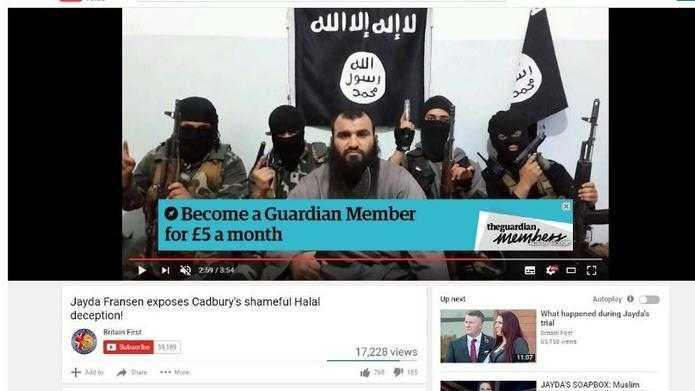 Auch der britische Guardian war überrascht, wo die eigene Werbung auftauchte.