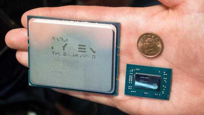 AMD Ryzen Threadripper (links) und Ryzen Mobile im direkten Größenvergleich