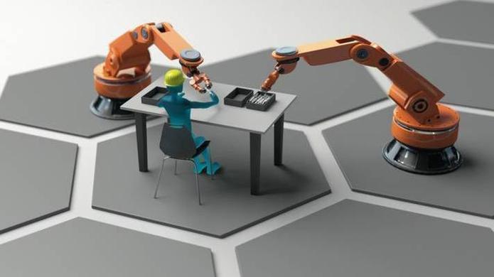 hannover messe festo zeigt cobot mit kompaktem pneumatik antrieb heise online. Black Bedroom Furniture Sets. Home Design Ideas