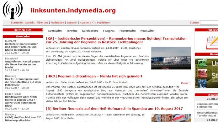 Deutsches Innenministerium sperrt linksextremistische Plattform linksunten.indymedia