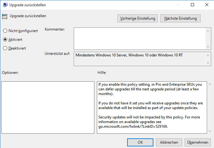 lange windows update