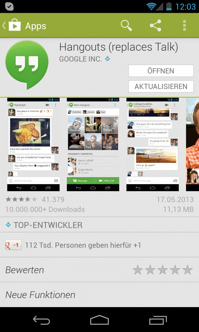 Hangouts App für Android