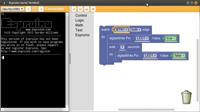 Screenshot Espruino Serial Terminal.