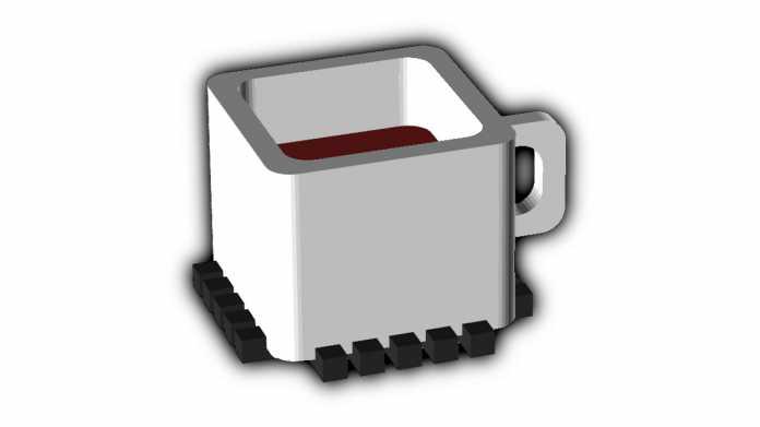 Logo einer weißen, quadratischen Kaffeetasse.