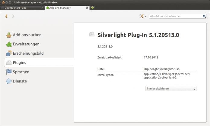 Silverlight via Pipelight