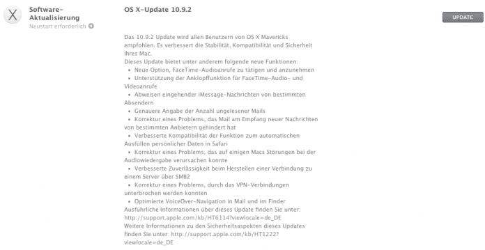 In den Release-Notes zu OS X 10.9.2 bleibt die SSL-Schwachstelle unerwähnt