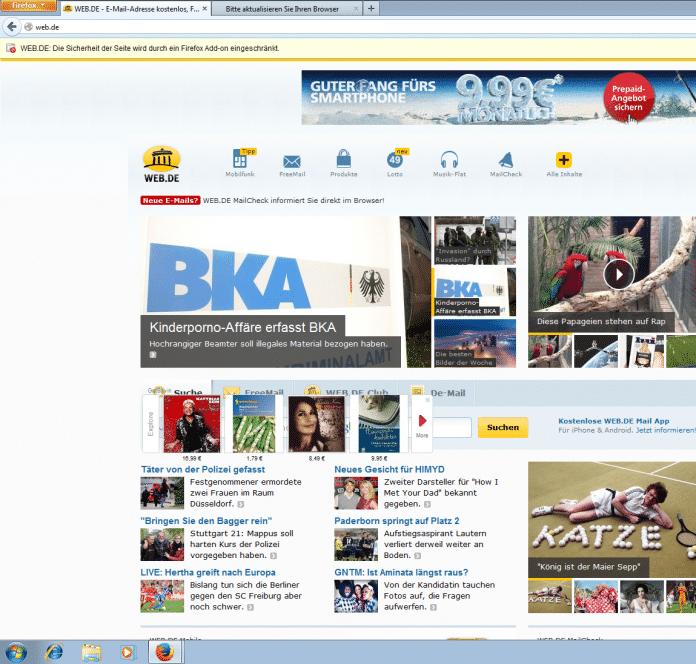 Der Warnhinweis auf Web.de (links oben im Bild) wurde entschärft, sieht aber immer noch <br /> wie eine Browser-Fehlermeldung aus.