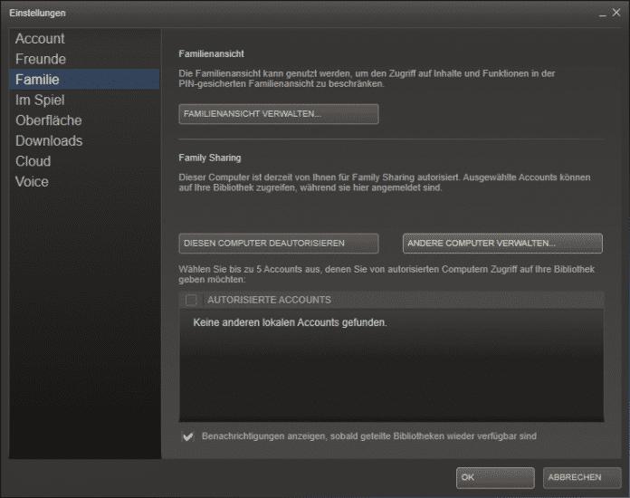 Wer seine Steam-Bibliothek verleihen möchte, muss nicht nur den Leih-Account autorisieren, sondern auch jeden einzelnen Rechner.