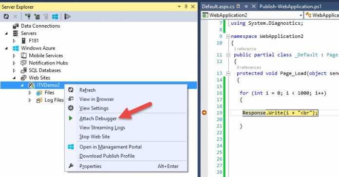 """Für das Debugging muss man lediglich im Visual Studio Server Explorer """"Attach Debugger"""" für die Website wählen."""