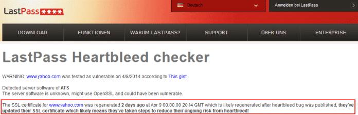 Ein nach Bekanntwerden der Heartbleed-Lücke ausgetauschtes Zertifikat ist ein Indikator dafür, dass ein Server betroffen war und abgesichert wurde.