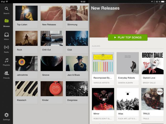 Auf dem iPad lässt sich Spotify auch gratis umfangreich nutzen