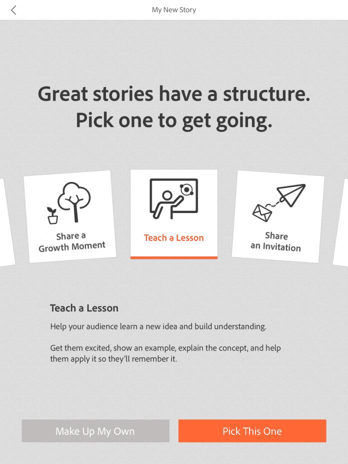 Vorlagen sollen beim Erstellen der Videogeschichten helfen