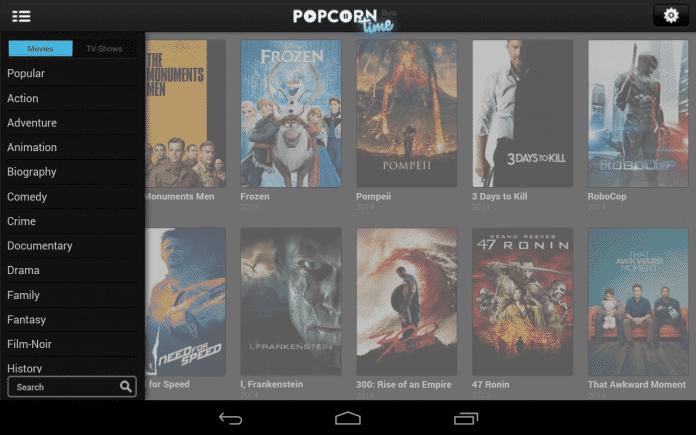 Popcorn Time sieht unter Android aus wie unter Window, Linux und Mac OS X.