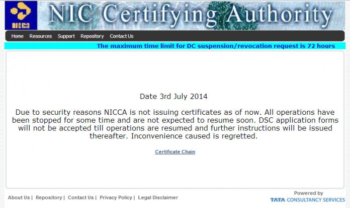 Das indische National Informatics Centre (NIC) stellt bis auf weiteres keine Zertifikate mehr aus.