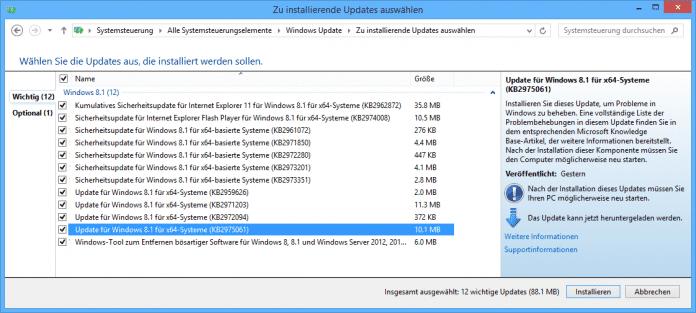 Patch gegen Update-Probleme unter Windows 8.1 und weitere Bugfixes