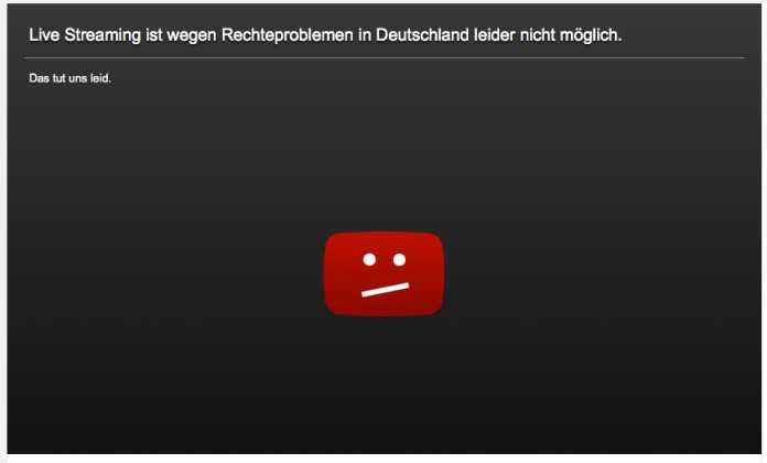"""""""Live-Streaming ist wegen Rechteproblemen in Deutschland nicht möglich"""""""