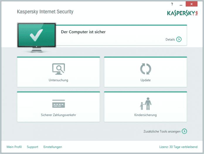 Voll im Einfach-Trend: Das Hauptmenü von Kaspersky Internet Security 2015.