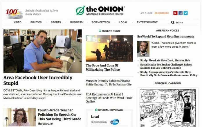 Website der Satire-Zeitschrift The Onion