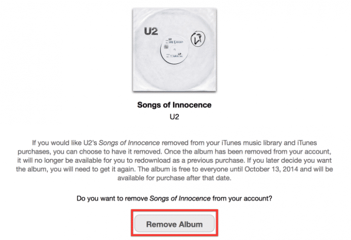 Das in den iCloud-Account gepresste Album lässt sich inzwischen wieder entfernen