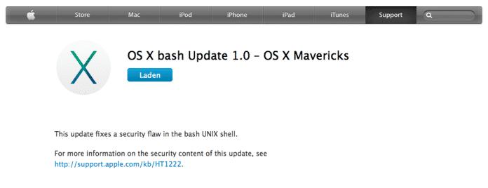Das Bash-Update muss von Apples Download-Seite bezogen werden