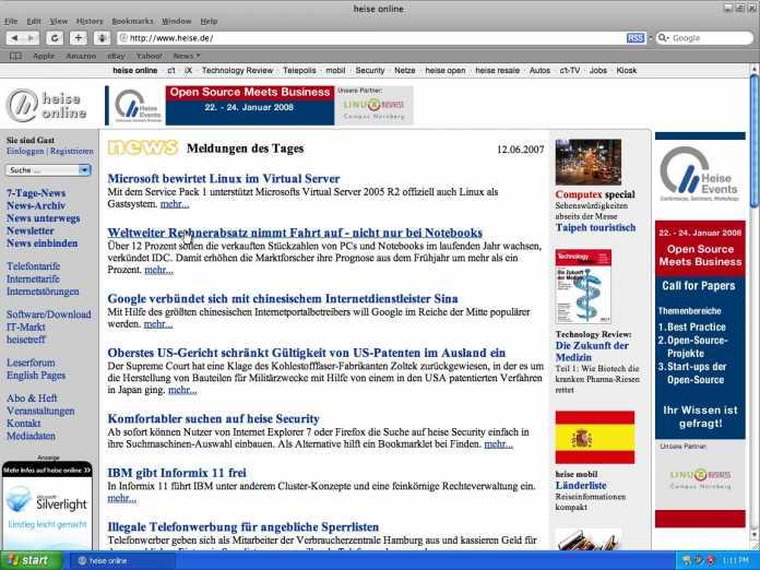 Apple Safari unter englischsprachigem Windows