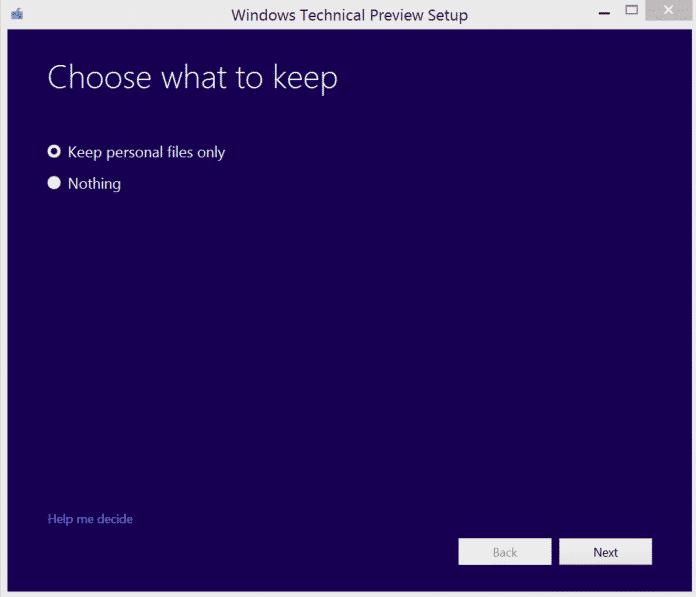 Die Technical Preview bietet zwar eine Upgrade-Installation an, dabei geht aber Anwendungen und Einstellungen verloren.