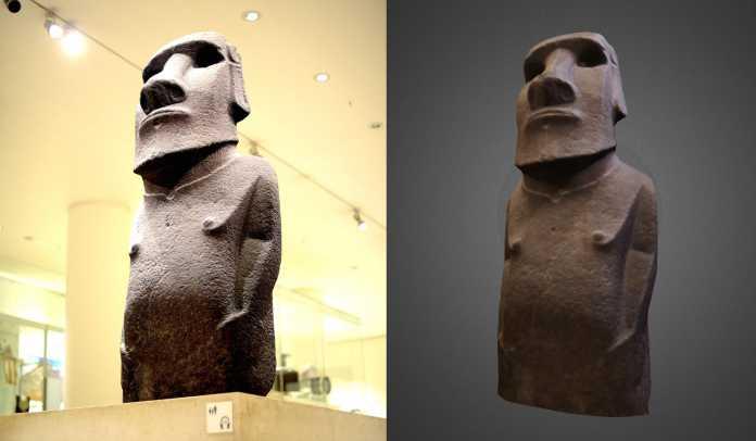 Original und Scan – die Hoa-Hakananai'a-Statue ist nur eines von bisher 14 Artefakten aus dem British Museum, das man als 3D-Modell herunterladen kann.