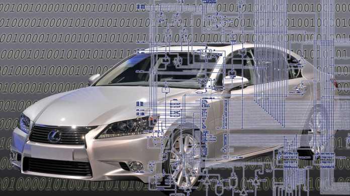 Von Computerplatine überlagertes Auto