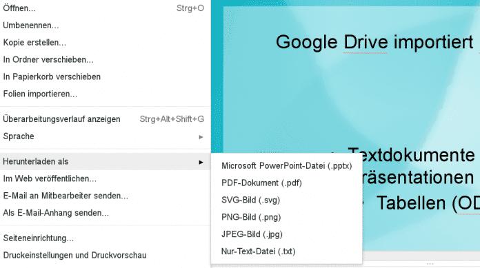 Einen Export als ODP sieht Google Docs zumindest derzeit nicht vor.