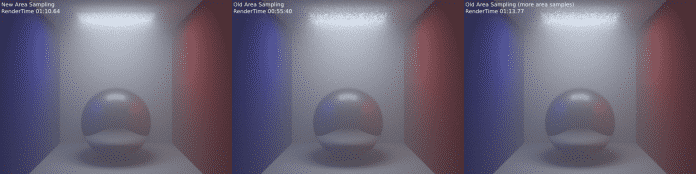 Vergleich Renderzeit und Rauschverhalten einer Flächenlampe mit der neuen und der alten Methode
