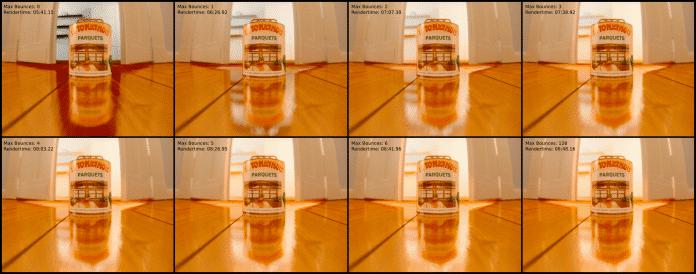 """Vergleich unterschiedlicher """"Max Bounces""""-Werte in einer Szene mit zwei Flächenlampen"""