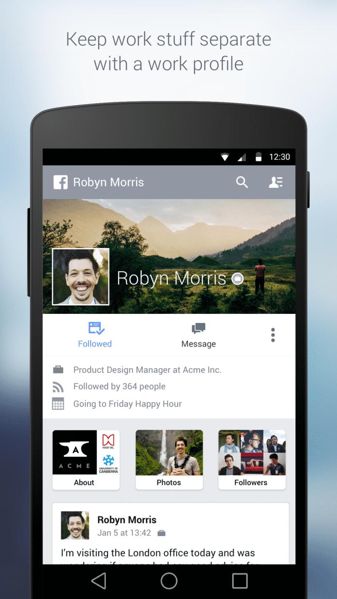 Mitarbeiter am Test beteiligter Unternehmen können jetzt auch per App Facebooks Firmenlösung nutzen.