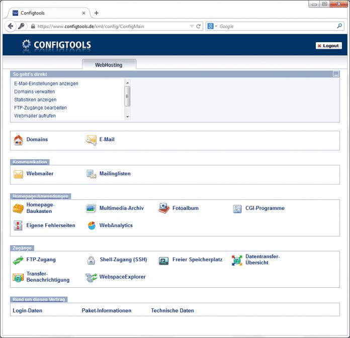 configtools.de ähnelt stark dem Kundencenter, das über 1und1.de erreichbar ist. Es bietet umfassende Konfigurations- und Zuugriffsmöglichkeiten.