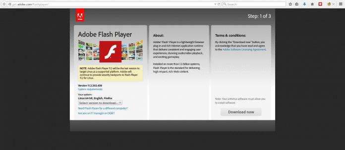 Auf get.adobe.com/flashplayer wird Linux-Nutzern eine unsichere Version als aktuell präsentiert.