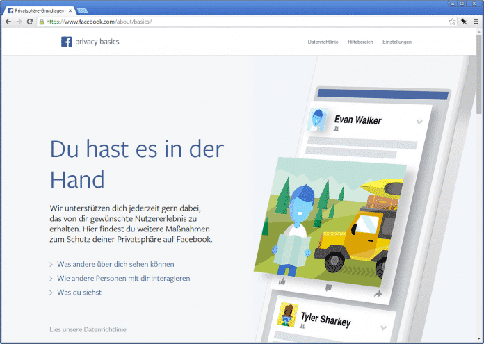"""Eine Info-Website zeigt """"Maßnahmen zum Schutz deiner Privatsphäre auf Facebook""""."""