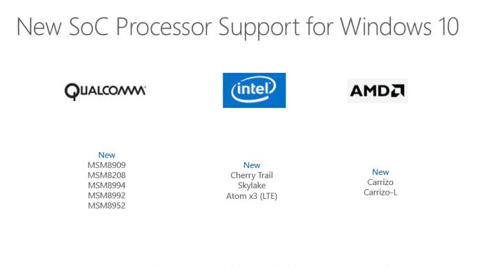 Windows 10 unterstützt mehr Systems-on-Chip