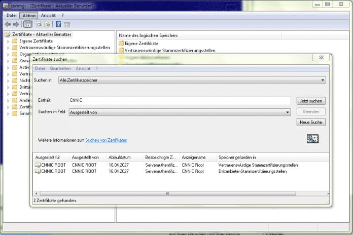 Viele Betriebssysteme und Browser vertrauen von CNNIC beglaubigten Zwischenzertifizierungsstellen wie MCS, die gefälschte Domain-Zertifikate in Umlauf gebraucht haben.