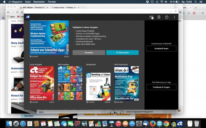 Auch die c't-App läuft nun im Chrome-Browser unter Mac OS X.