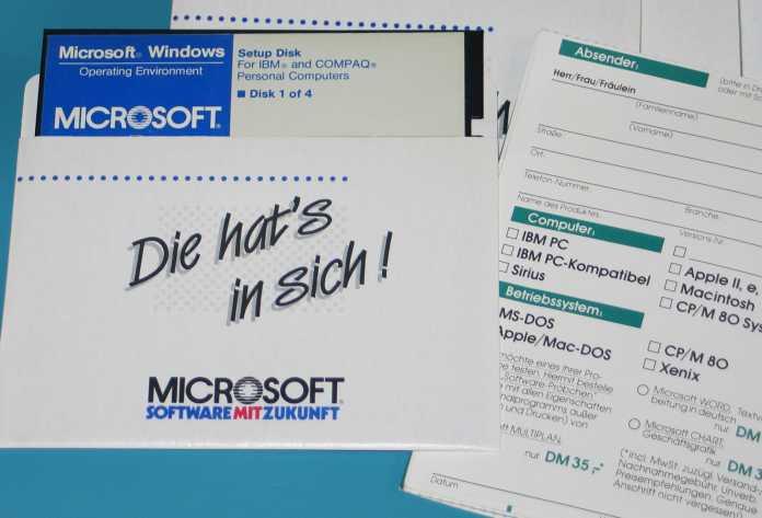 Microsoft Windows 1.0 Registrierformular