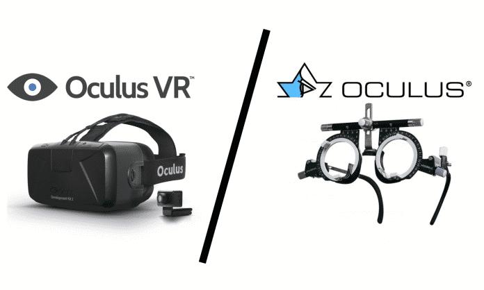 Oculus vs Oculus: Oculus VR stellt VR-Brillen her (hier Rift DK2), Oculus Optikgeräte GmbH unter anderem Meßbrillen (hier Modell UB 3).