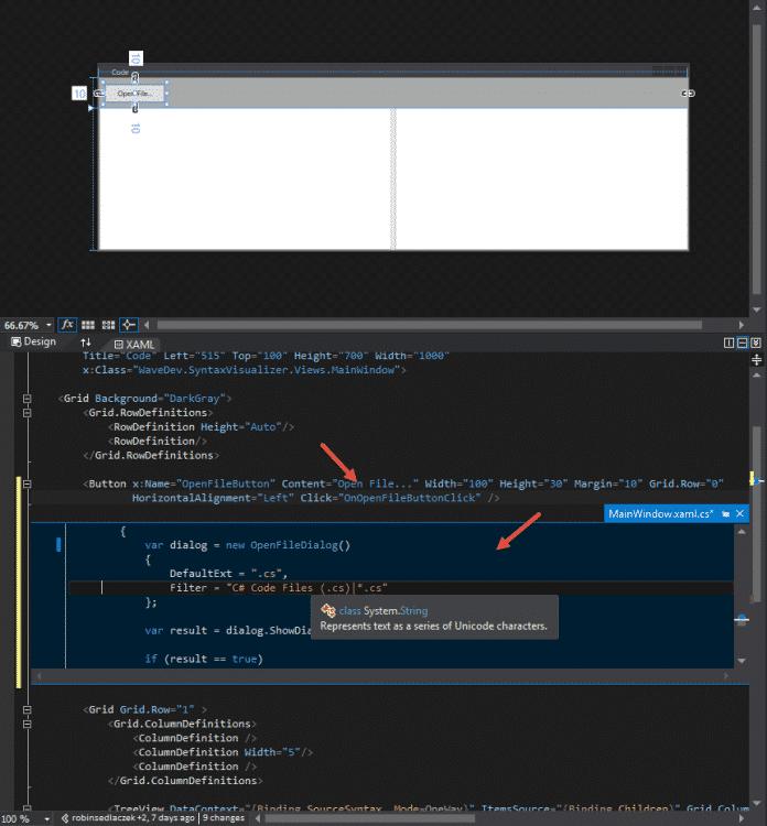 Im XAML-Editor lässt sich der Code-Behind eines Event Handler direkt bearbeiten.