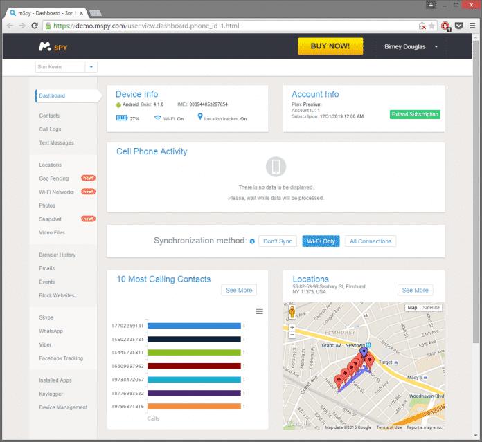 Über eine Web-Oberfläche sehen Kunden, was mSpy auf den Zielgeräten mitgeschnitten hat.