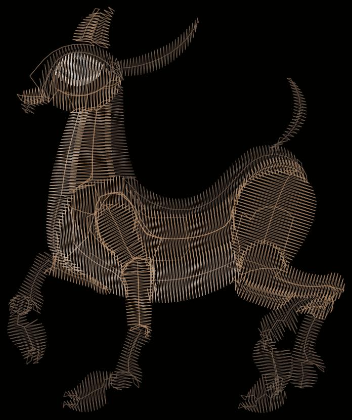 Die Vorlage für das Lämmchen: Der Stickplan wurde in der Software Mathematica erzeugt.